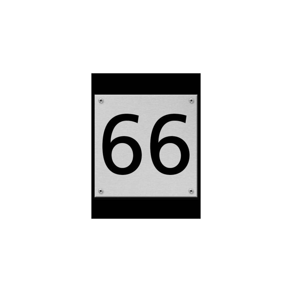 RVS Huisnummerbord 12x12cm - met schroeven