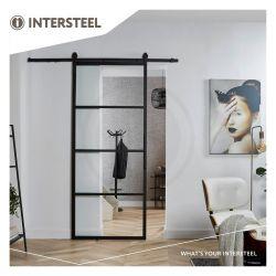 DIY schuifdeur Cubo incl. transparant glas 2150mm + zwart ophangsysteem Basic