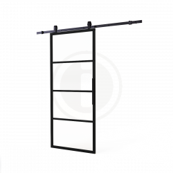 DIY schuifdeur Cubo incl. transparant glas 2150mm + zwart ophangsysteem Basic Top
