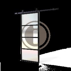 DIY schuifdeur Cubo incl. transparant glas 2350mm + zwart ophangsysteem Basic Top