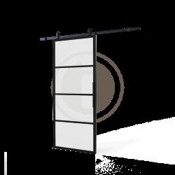 DIY schuifdeur Cubo incl. matglas 2150mm + zwart ophangsysteem Basic Top