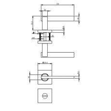 Deurkruk 1712 Jim op vierkante rozet 7mm nokken met WC8mm chroom/nikkel mat