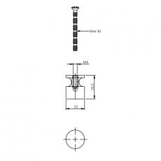 Knop recht ø25mm chroom