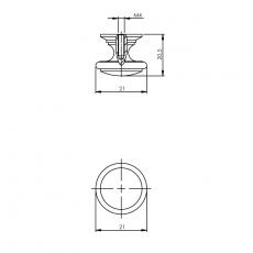 Knop afgerond 21mm chroom