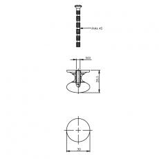 Knop paddestoel met achterplaat 30mm chroom