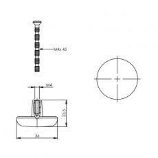 Knop plat 36mm chroom mat