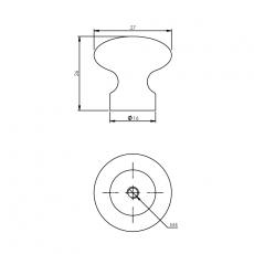 Knop paddestoel 27mm chroom mat