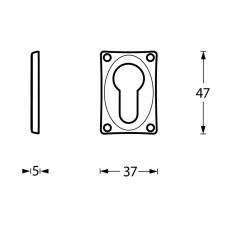 Profielcilindergat plaatje vierkant verlengd nikkel