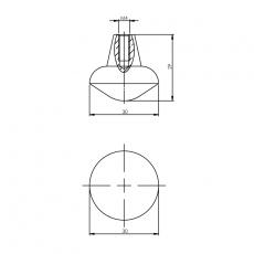 Knop punt rond 30mm mat zwart