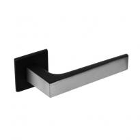 Deurkruk No.1 met rozet vierkant plat verdekt RVS -mat zwart