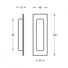 Schuifdeurkom rechthoek 120x40mm blind RVS