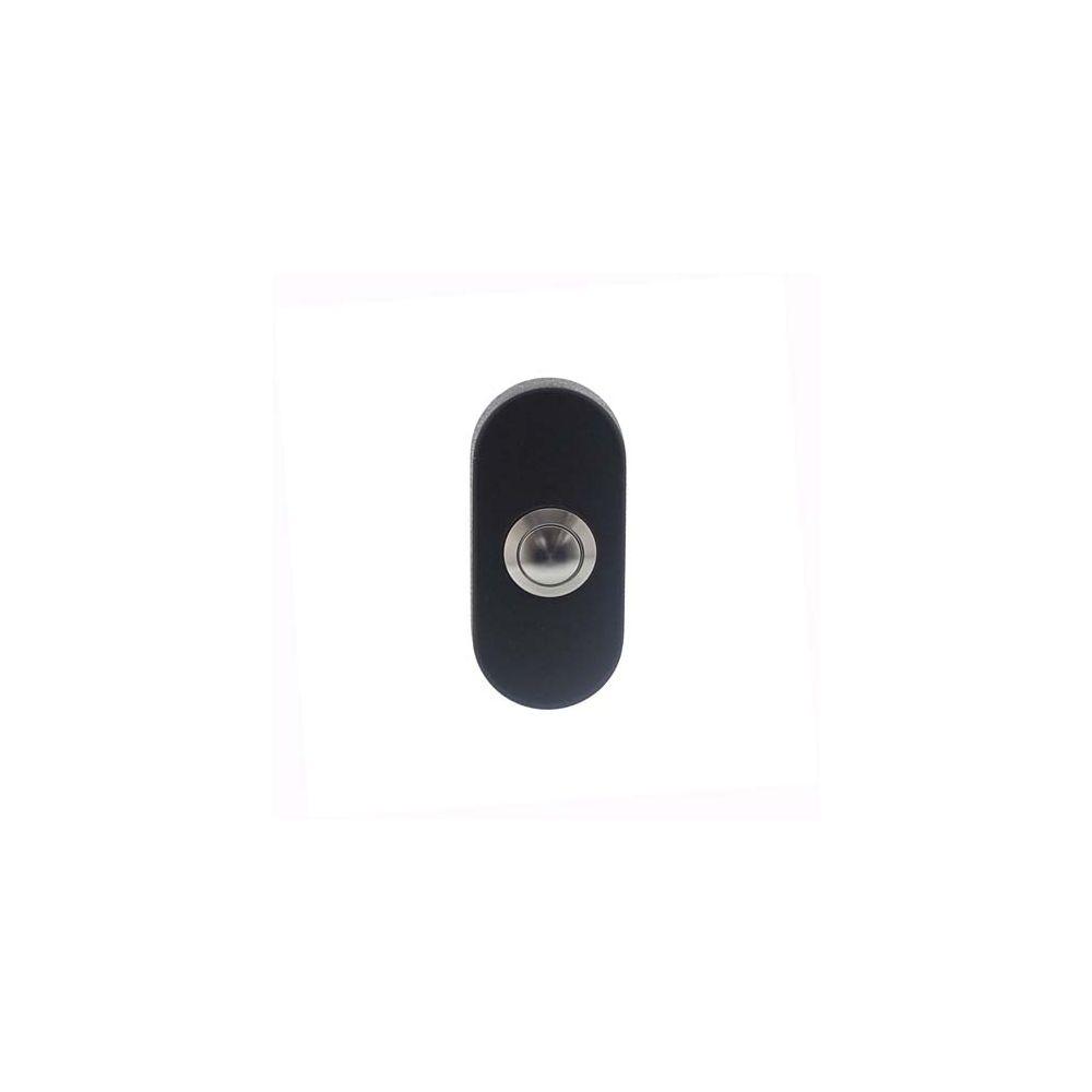 Beldrukker ovaal verdekt 65x30x10 RVS/mat zwart