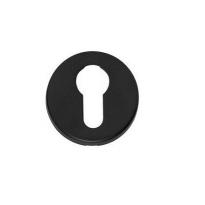 Profielcilindergat plaatje rond verdekt kunststof mat zwart