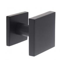 Voordeurknop vast verkropt vierkant 64/54 éénzijdige montage RVS/mat zwart