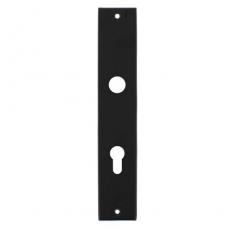 Langschild rechthoekig profielcilindergat 55mm mat zwart