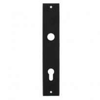 Langschild rechthoekig profielcilindergat 92mm mat zwart
