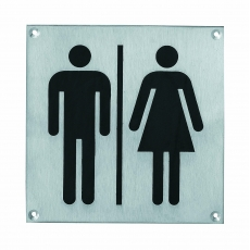 Pictogram groot WC dames en heren RVS