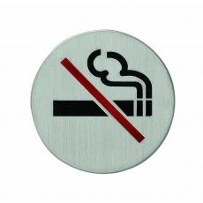 Pictogram zelfklevend rond rookverbod RVS
