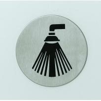 Pictogram zelfklevend rond douche RVS