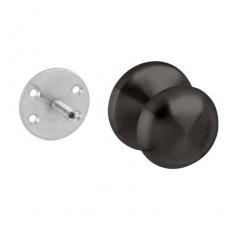 Voordeurknop paddstoel ø58/66mm éénzijdige montage RVS/mat zwart