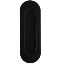Schuifdeurkom ovaal 120x40mm blind RVS/mat zwart