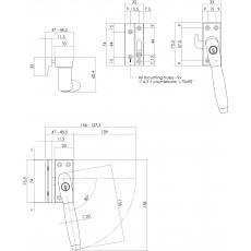 SKG* Afsluitbare raamsluiting rechts Ton 400 nikkel/ebbenhout compleet