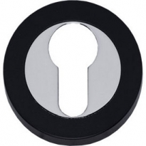 Profielcilindergat plaatje Cali verdekt vlak chroom/zwart