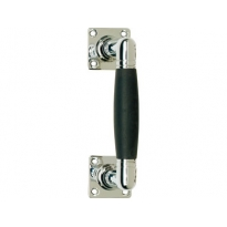 Deurgreep Ton 75/150mm op rozet vierkant nikkel/ebbenhout