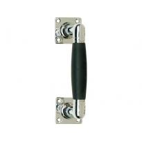 Deurgreep Ton 110/180mm op rozet vierkant nikkel/ebbenhout